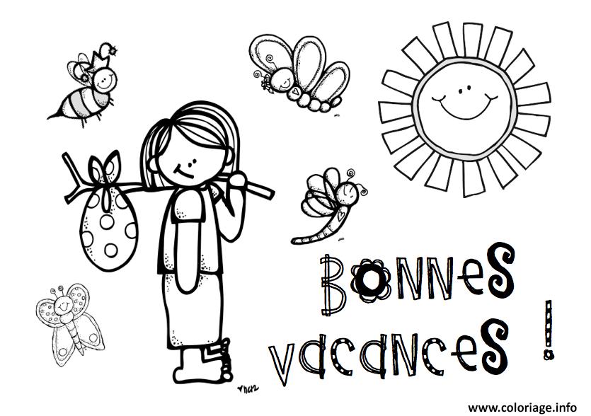 Coloriage Bonnes Vacances Les Enfants Ete Dessin