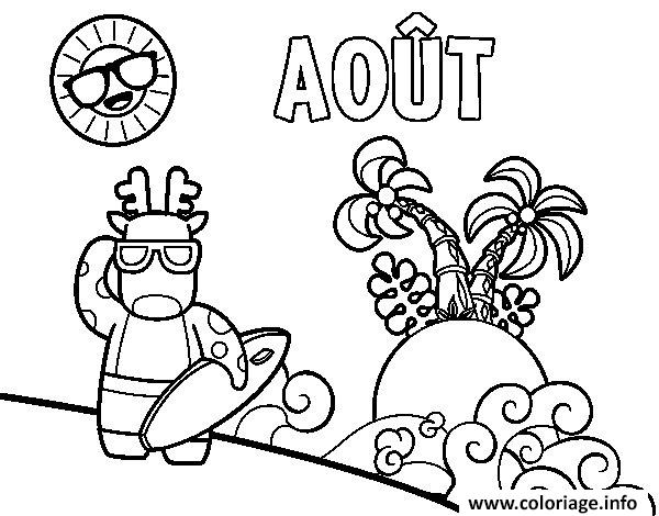 Dessin le mois de aout vacance a la plage ete Coloriage Gratuit à Imprimer