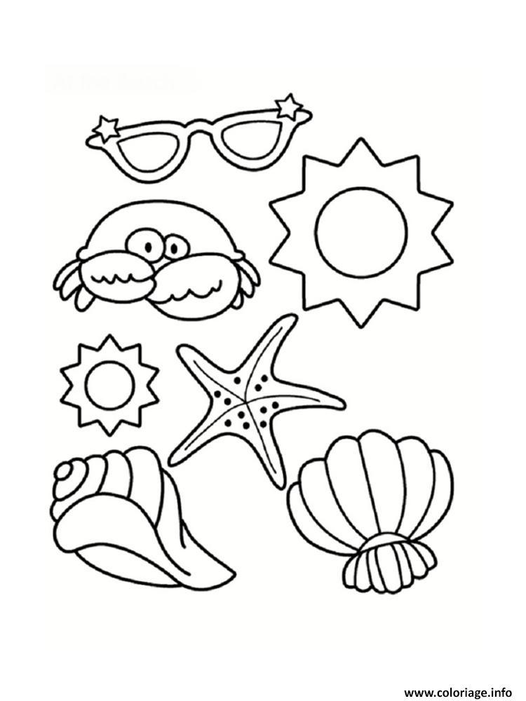 2c81eebba324f2 Dessin coquille de plage etoile de mer crabe lunette soleil Coloriage  Gratuit à Imprimer