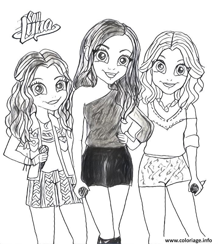 Dessin soy luna et ses trois amies chanteuses a colorier Coloriage Gratuit à Imprimer