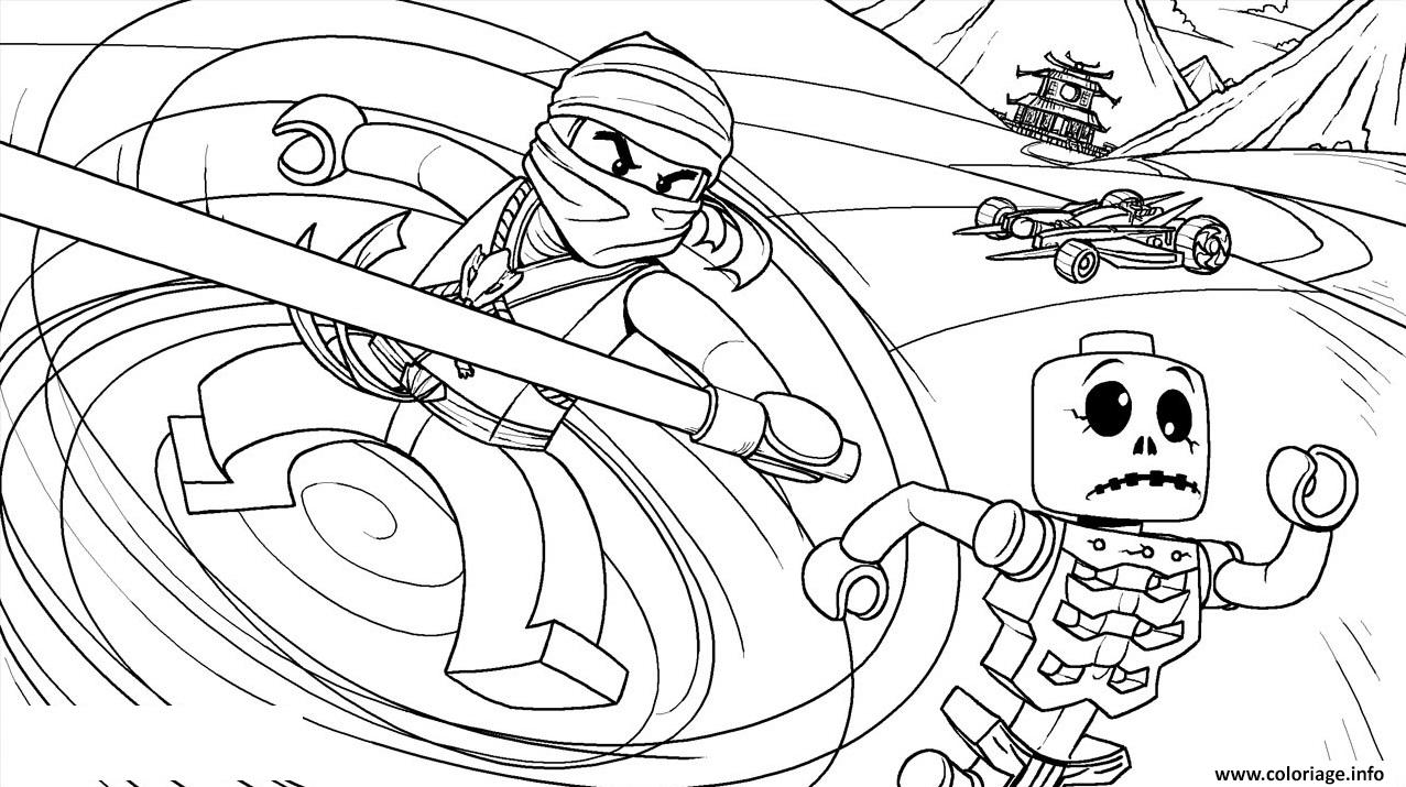 Coloriage LEGO Ninjago Cole Fighting Skeletons Dessin à Imprimer