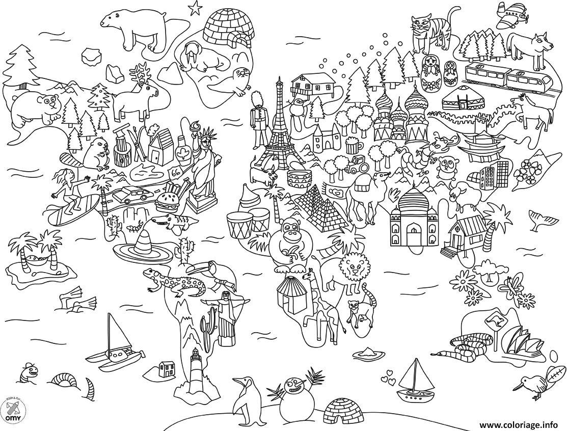 Dessin xxl carte du monde en dessin anime Coloriage Gratuit à Imprimer