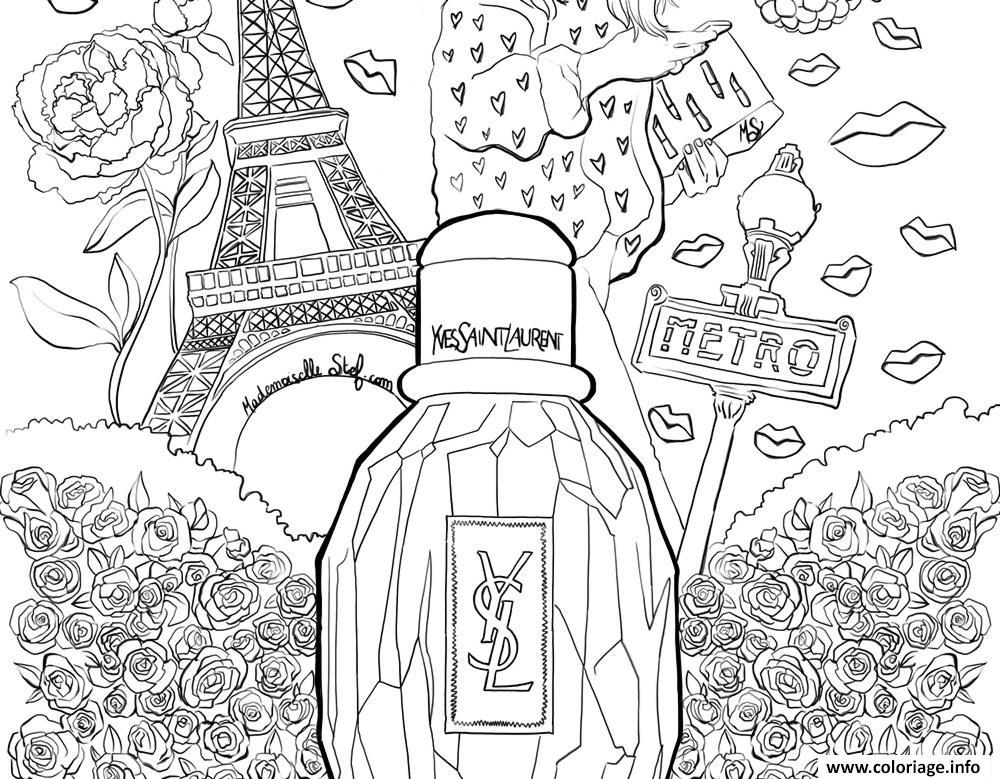 Dessin xxl parisienne yves saint laurent mademoiselle stef gen Coloriage Gratuit à Imprimer