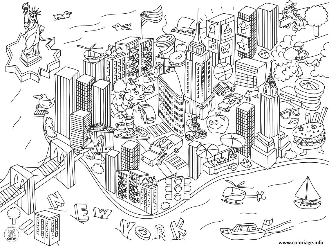 Coloriage new york ville usa xxl dessin - Lincroyable maison book tower londres ...
