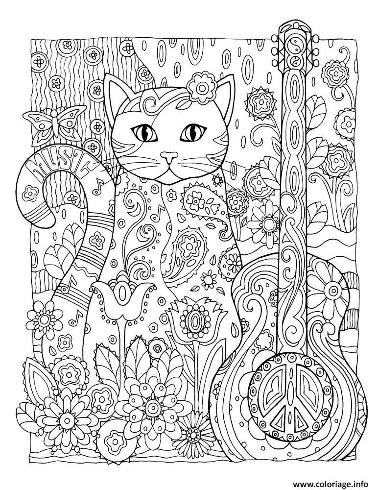 Dessin xxl adulte chat peace fleurs Coloriage Gratuit à Imprimer