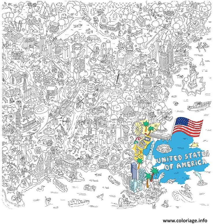 Dessin XXL LA Etats Unis Coloriage Gratuit à Imprimer