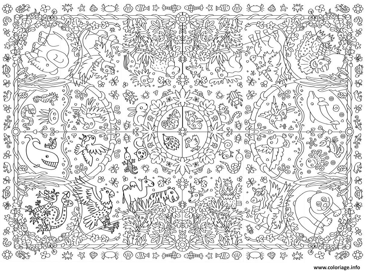 Coloriage xxl zoo jungle animaux dessin - Coloriage animaux de la jungle ...