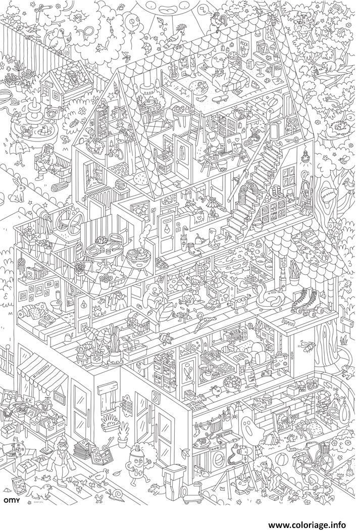 Coloriage poster geant maison xxl dessin - Dessin geometrique a colorier ...