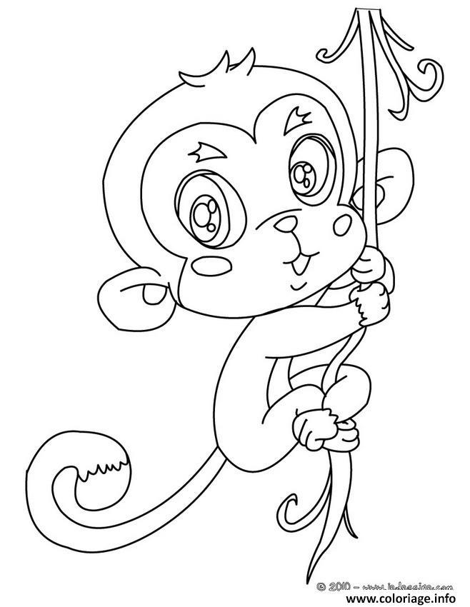 Dessin bebe singe cute Coloriage Gratuit à Imprimer