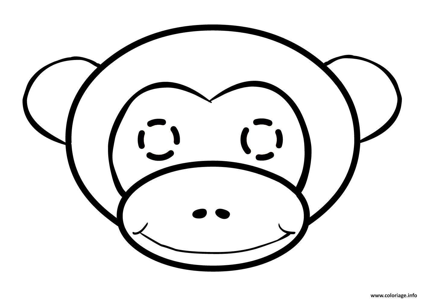 Coloriage A Imprimer Emoji Singe.Coloriage Tete De Singe Facile Dessin