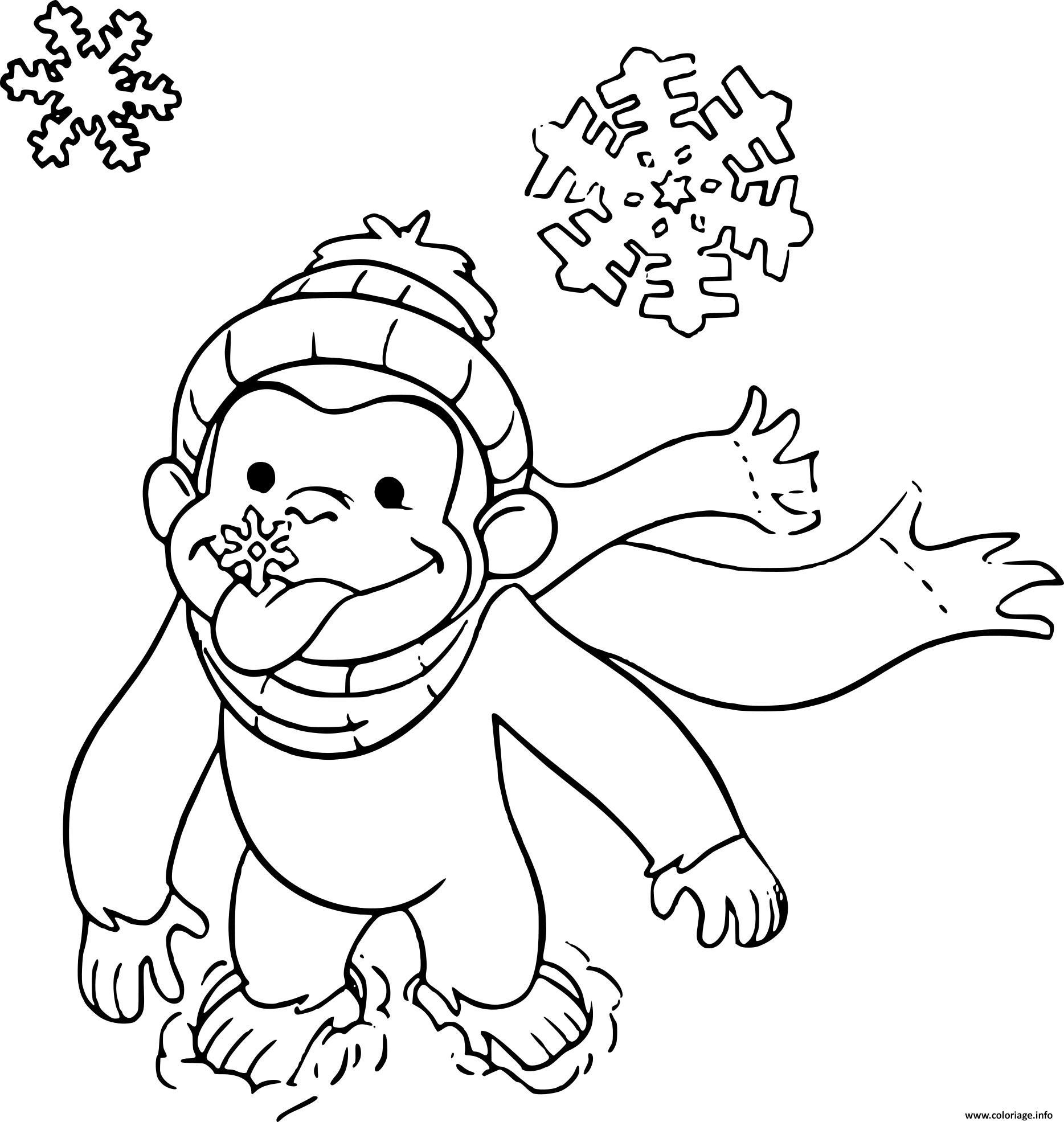 Coloriage singe facile sur la neige - Dessin de neige ...