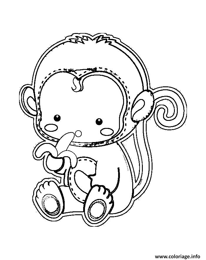 coloriage bebe singe qui mange une banane dessin