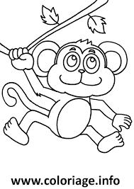 Dessin petit singe sur un arbre Coloriage Gratuit à Imprimer