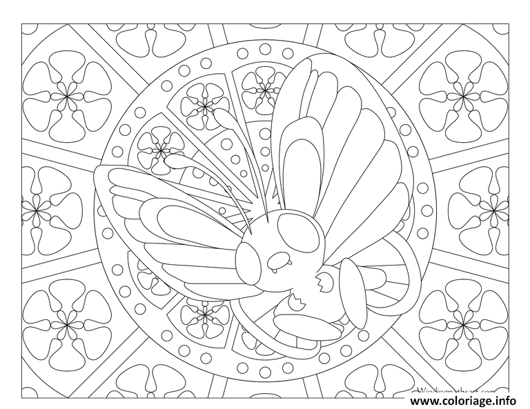 Coloriage Pokemon Mandala Adulte Butterfree Dessin à Imprimer