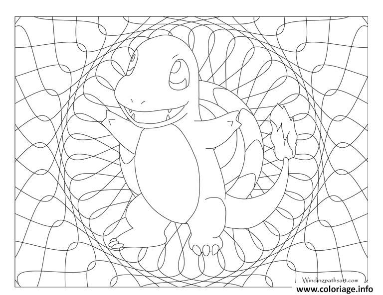 Coloriage pokemon mandala adulte charmander for Charmander coloring page