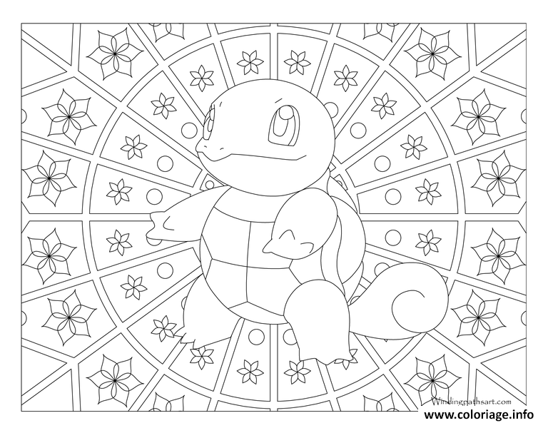 Coloriage Pokemon Mandala Adulte Squirtle Dessin