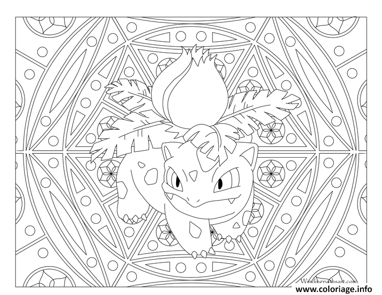 coloriage pokemon mandala adulte ivysaur. Black Bedroom Furniture Sets. Home Design Ideas