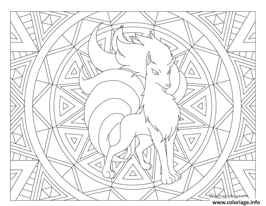 Dessin Adulte Pokemon Mandala Ninetales Coloriage Gratuit à Imprimer