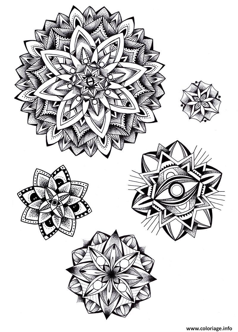 Dessin tatouage mandala adulte roses Coloriage Gratuit à Imprimer