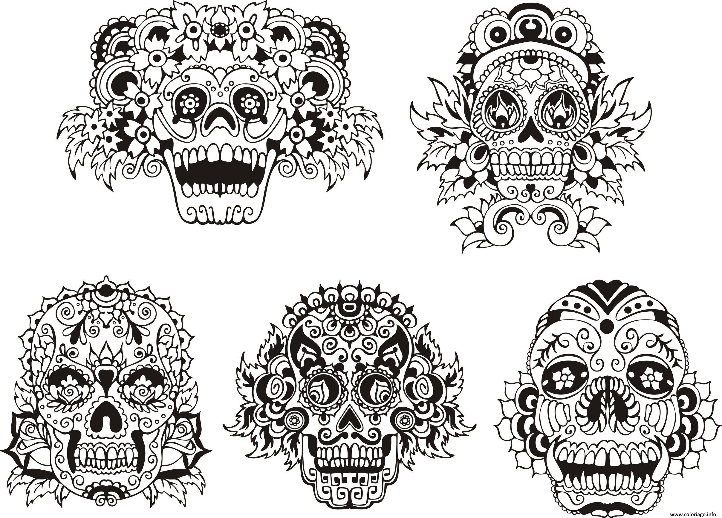 Coloriage adulte tatouage calavera - Dessin a colorier adulte ...