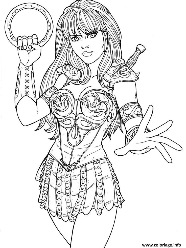Line Drawing Images : Coloriage xena super heros dessin