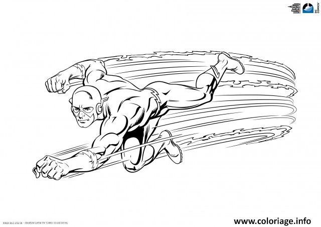 Coloriage Flash Super Heros En Vitesse Dans Les Airs Dessin