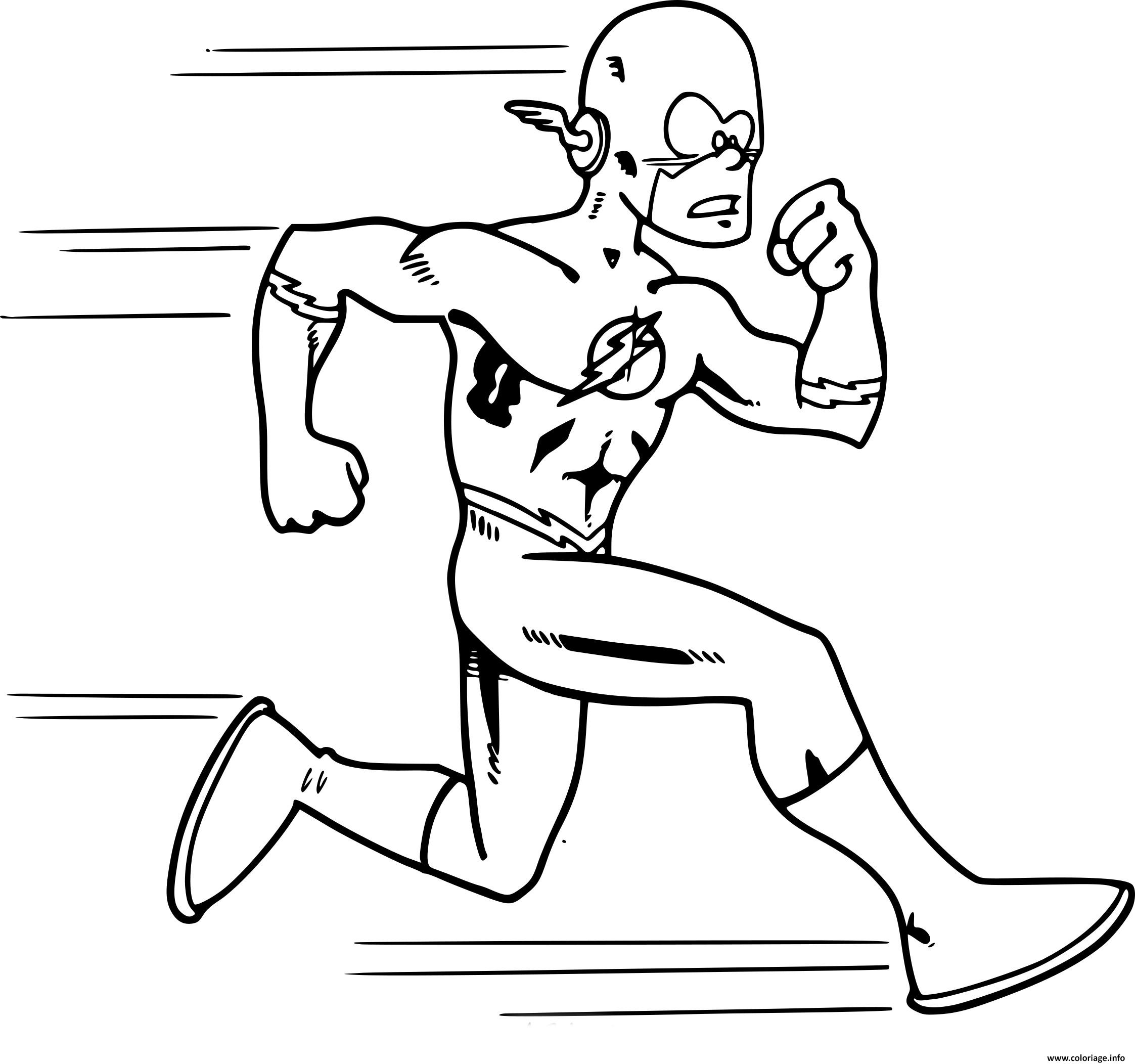 Dessin flash super heros qui court cartoon Coloriage Gratuit à Imprimer