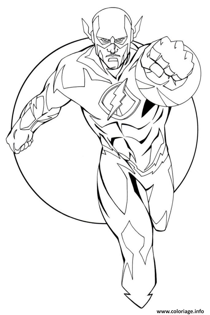 coloriage flash super heros en plein vitesse dessin