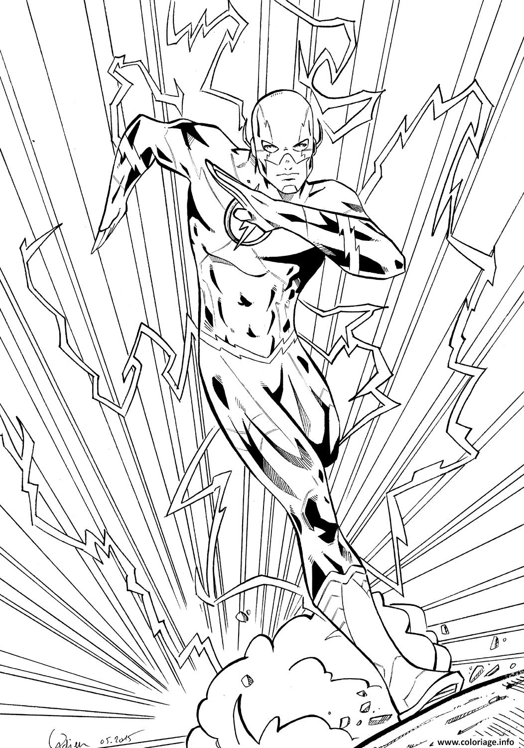 Coloriage flash super heros en mode electrique - Dessin de super heros ...