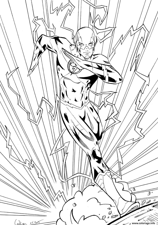 Coloriage Flash Super Heros En Mode Electrique Dessin