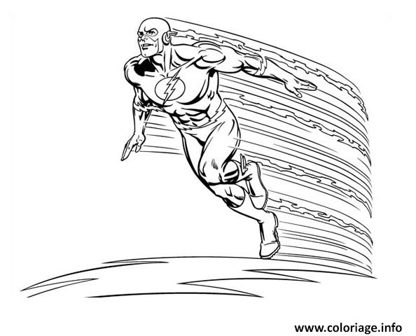 Coloriage Super Heros Flash En Vitesse Dessin