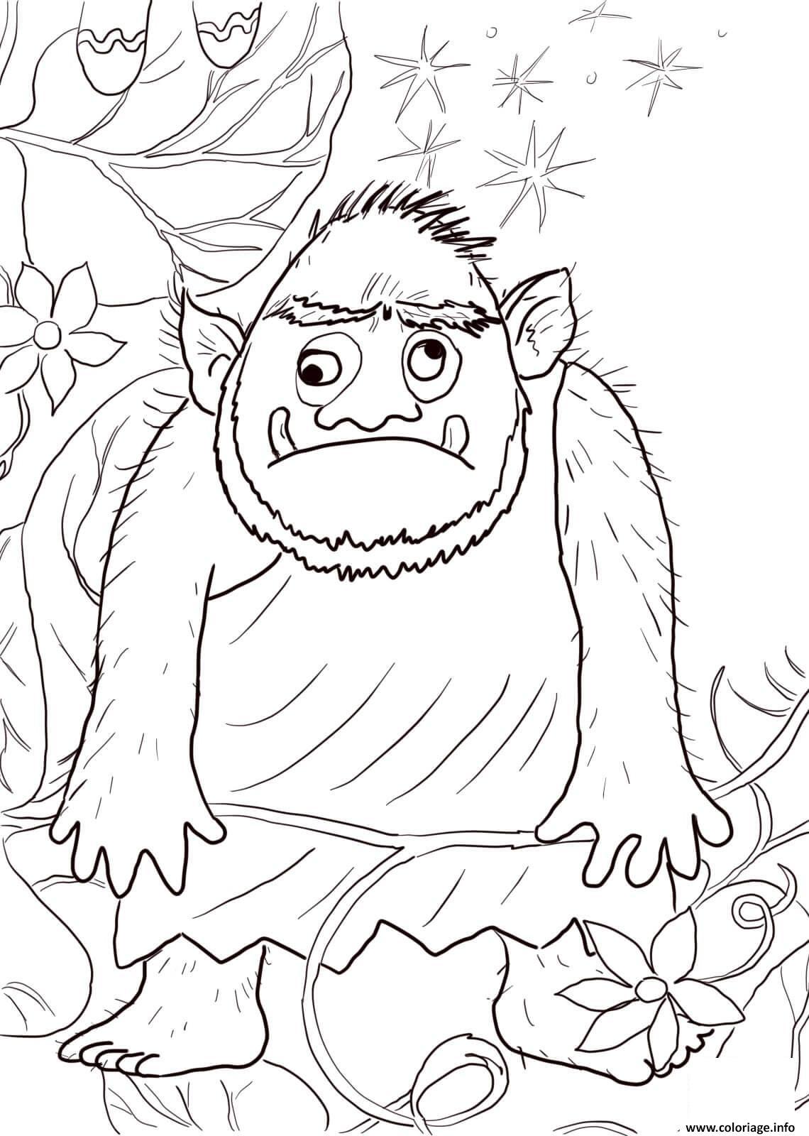 Dessin ogre avec les yeux en haut et en bas Coloriage Gratuit à Imprimer