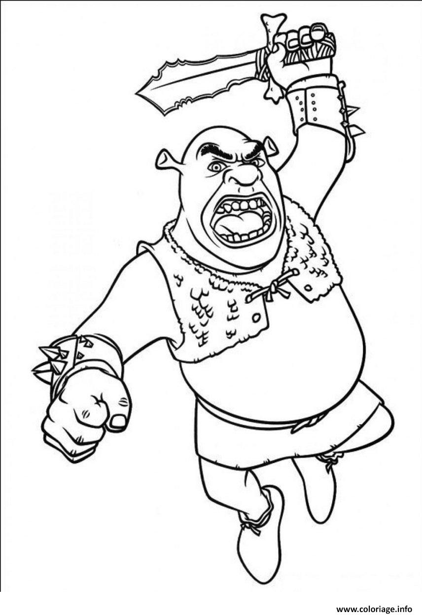 Coloriage Shrek Ogre En Mode Attaque dessin