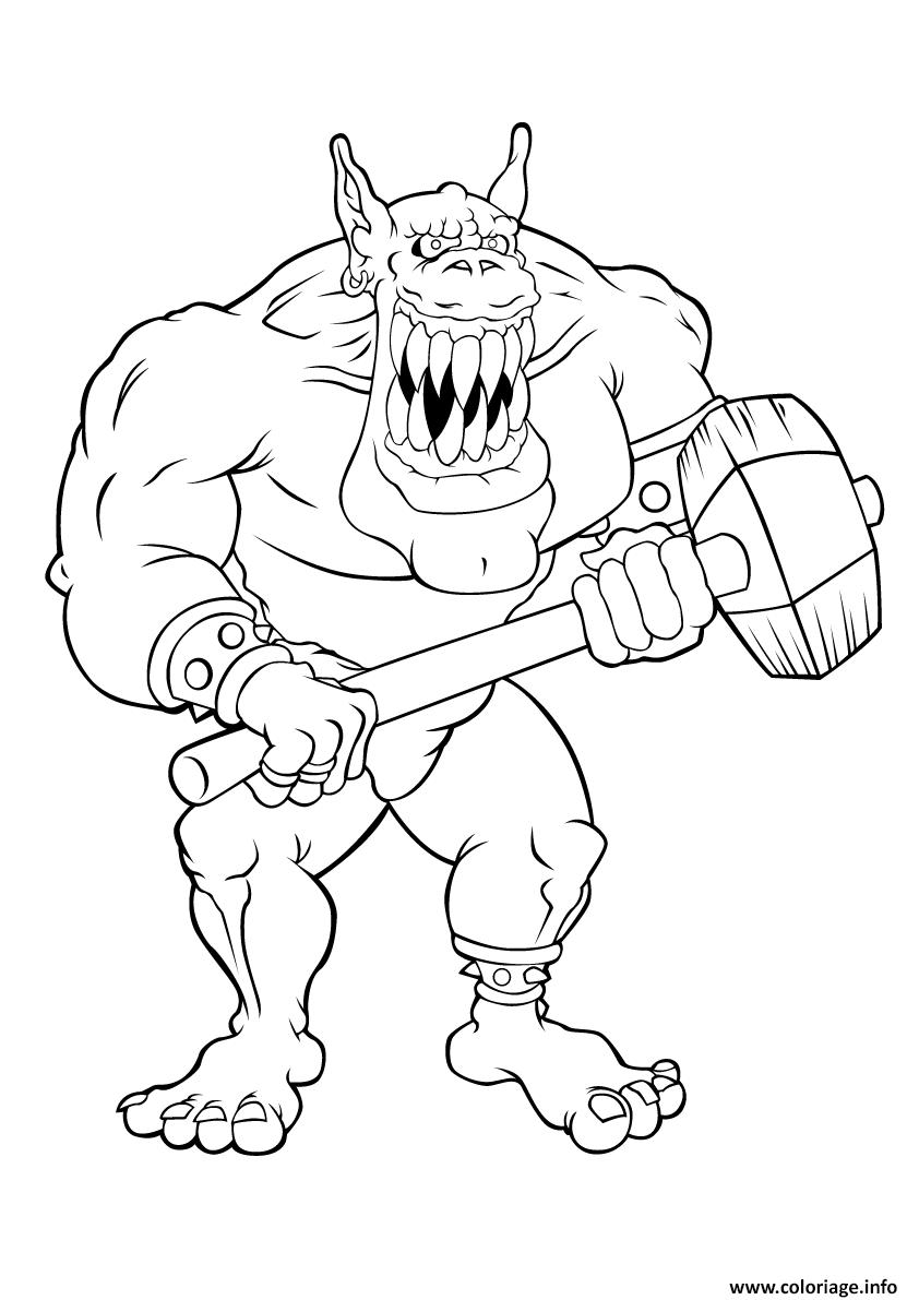 Coloriage Geant Ogre Mechant Dessin Ogre A Imprimer