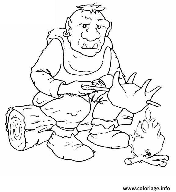 Coloriage ogre se prepare a manger dessin - Dessin manger ...