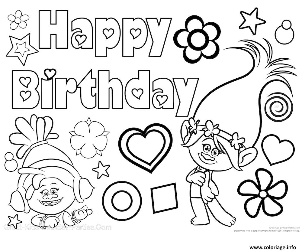 Coloriage bonne fete happy birthday poppy trolls dessin - Dessin de troll ...