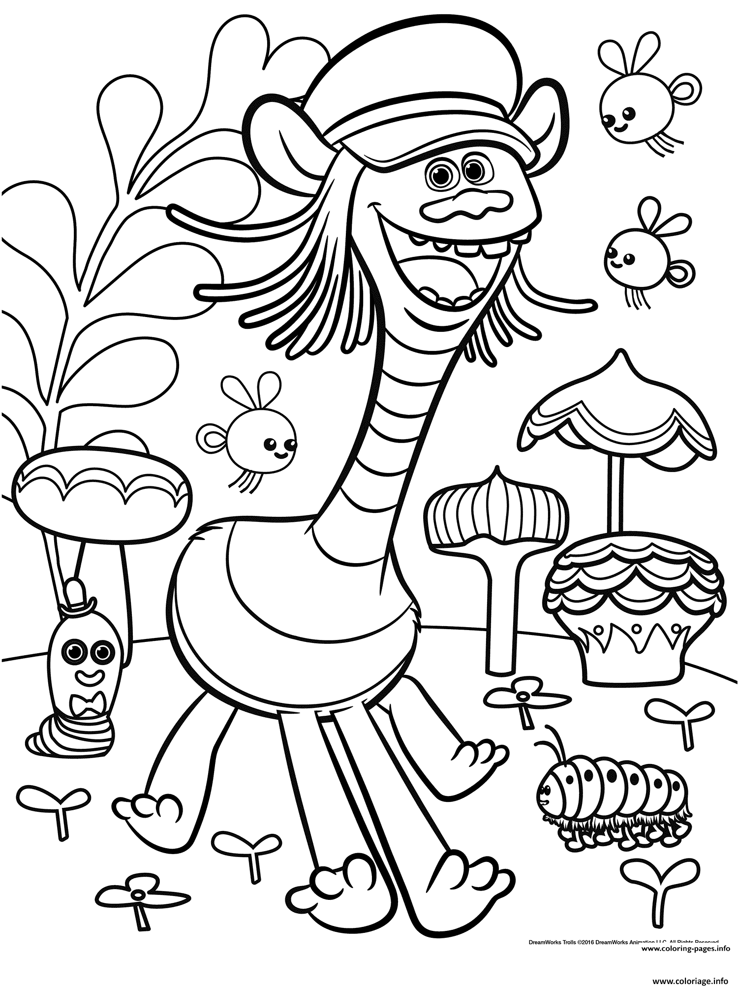 Coloriage Cooper From Trolls With Insects Dessin à Imprimer