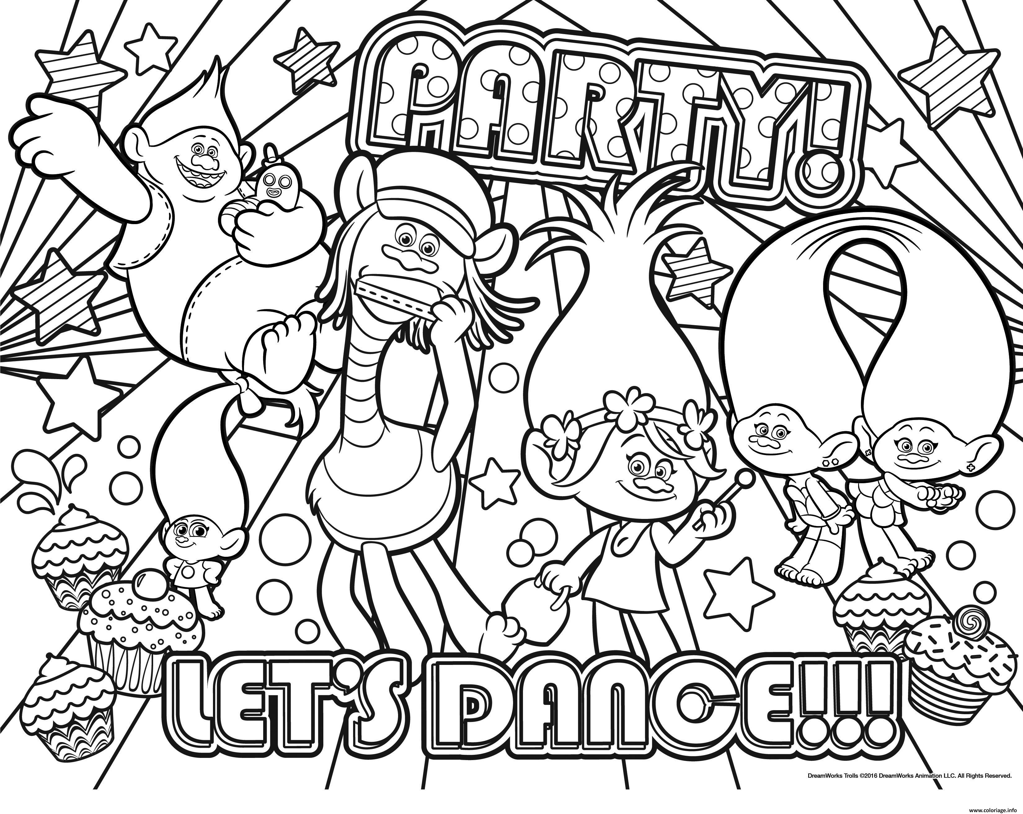 Coloriage party lets dance dessin - Dessin de troll ...