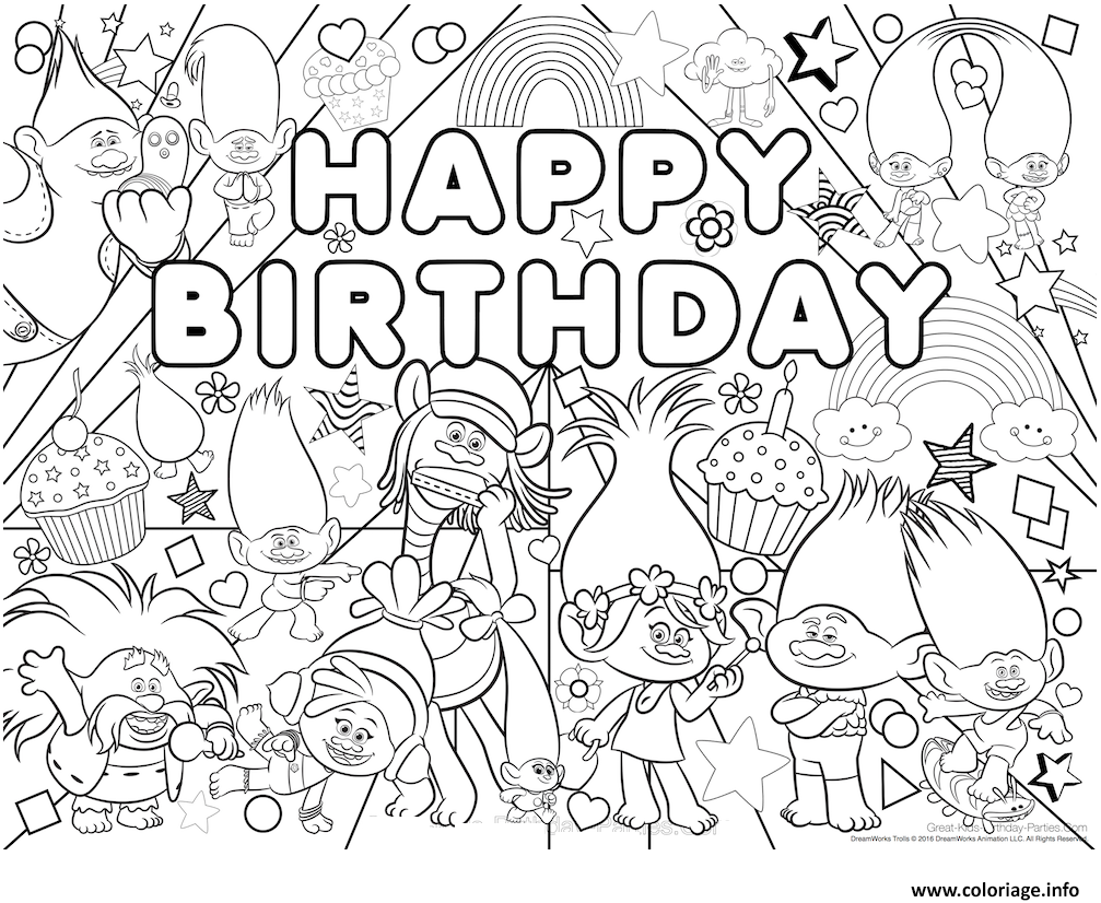 Coloriage happy birthday bonne fete trolls JeColorie