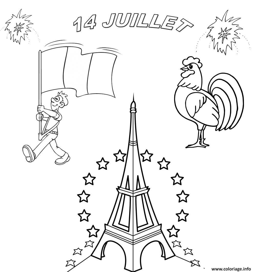 Dessin fete nationale francaise 14 juillet Coloriage Gratuit à Imprimer
