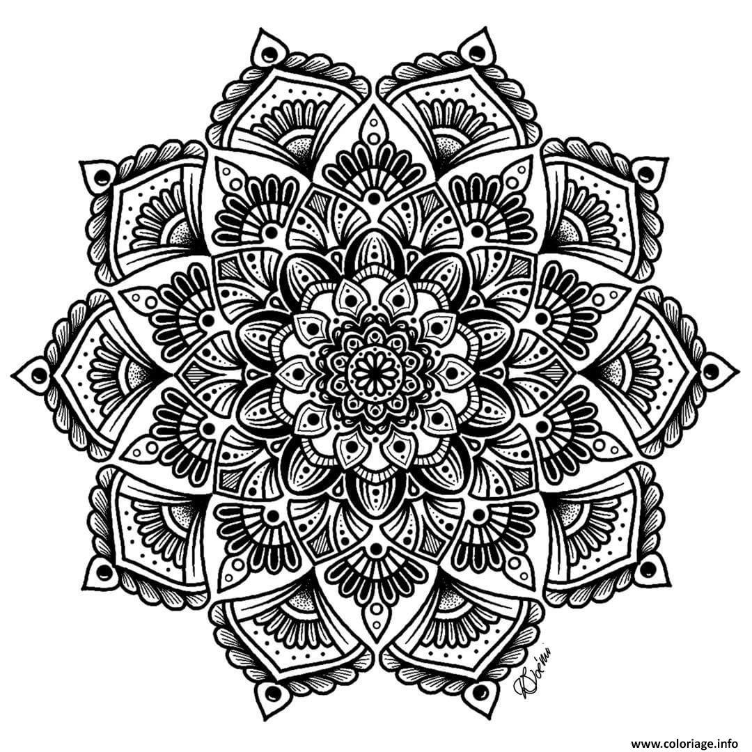 Coloriage mandala complexe adulte fleurs art therapie dessin - Imprimer des mandalas gratuit ...