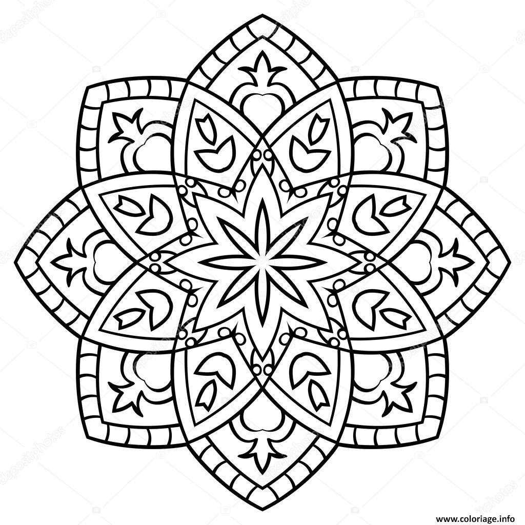 Coloriage Mandala Facile A Imprimer.Coloriage Mandala Facile Et Simple Dessin