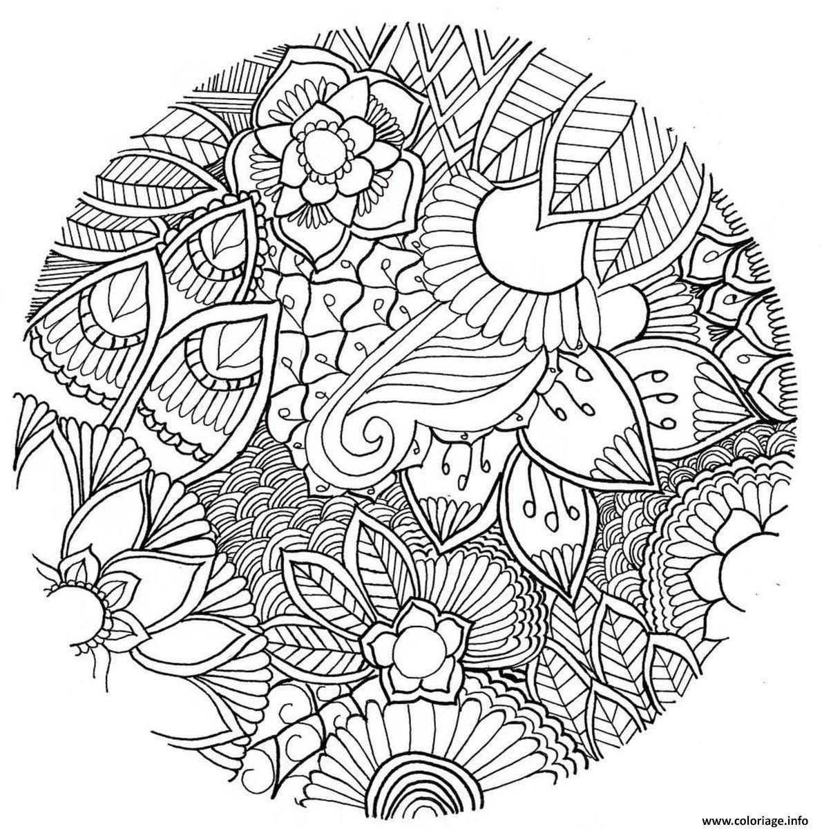 mandala fleurs ve ales foret adulte coloriage dessin