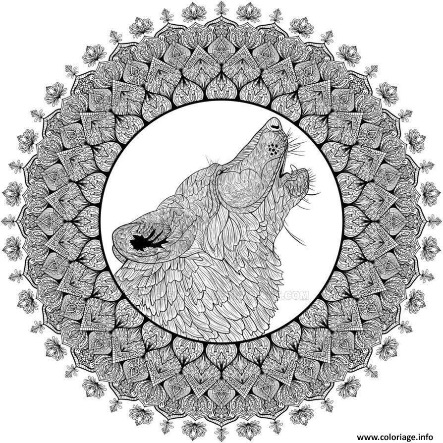 Coloriage Mandala Loup Difficile Complexe Adulte Dessin