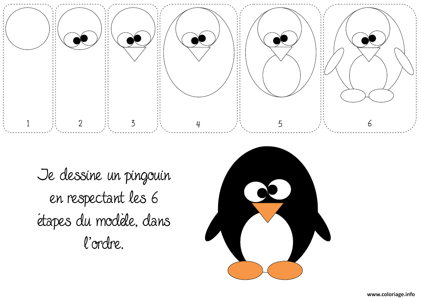 Coloriage comment dessiner un pingouin - Dessin a dessiner ...