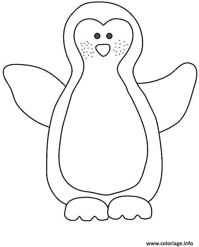 Coloriage Pingouin Simple Dessin