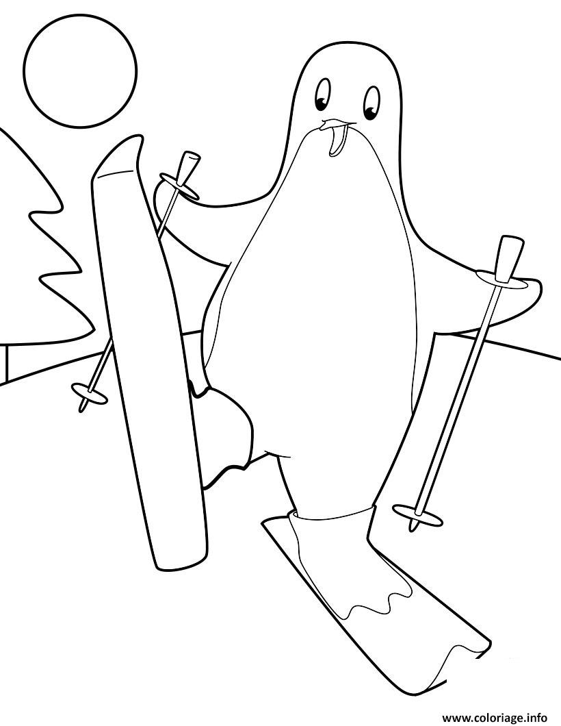 Coloriage pingouin qui fait du ski - Dessin pinguoin ...