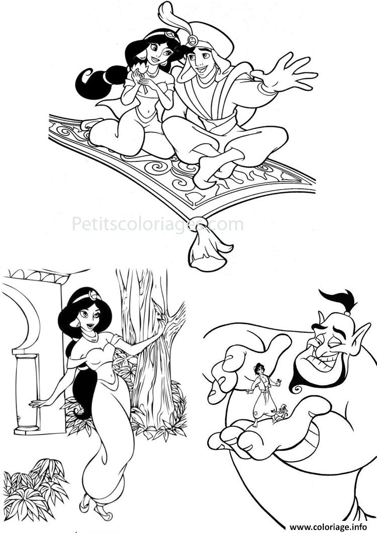 Coloriage aladdin jasmine genie dessin - Dessin a imprimer aladin ...