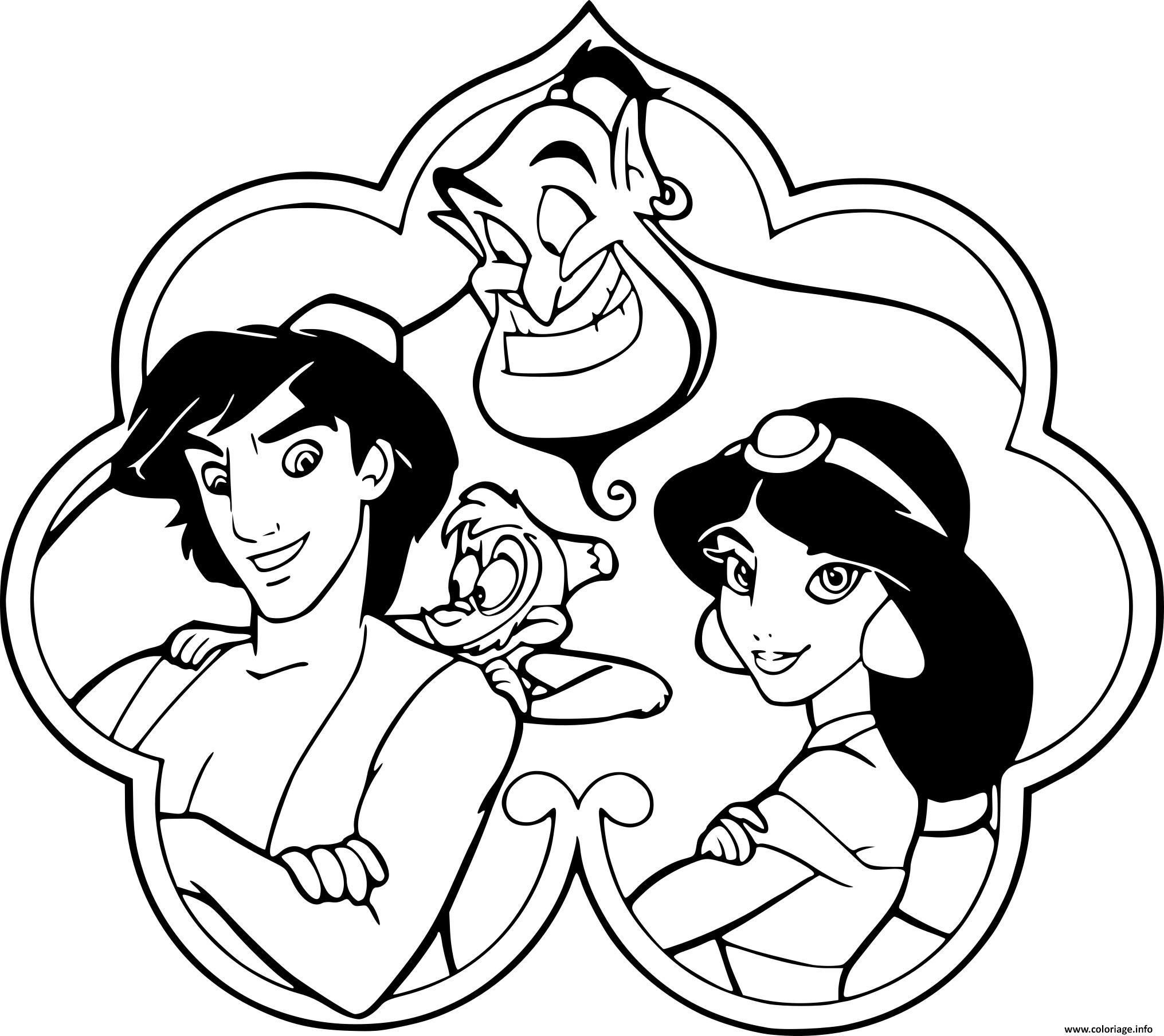 Coloriage aladdin jasmine genie abu dessin - Dessin a imprimer aladin ...
