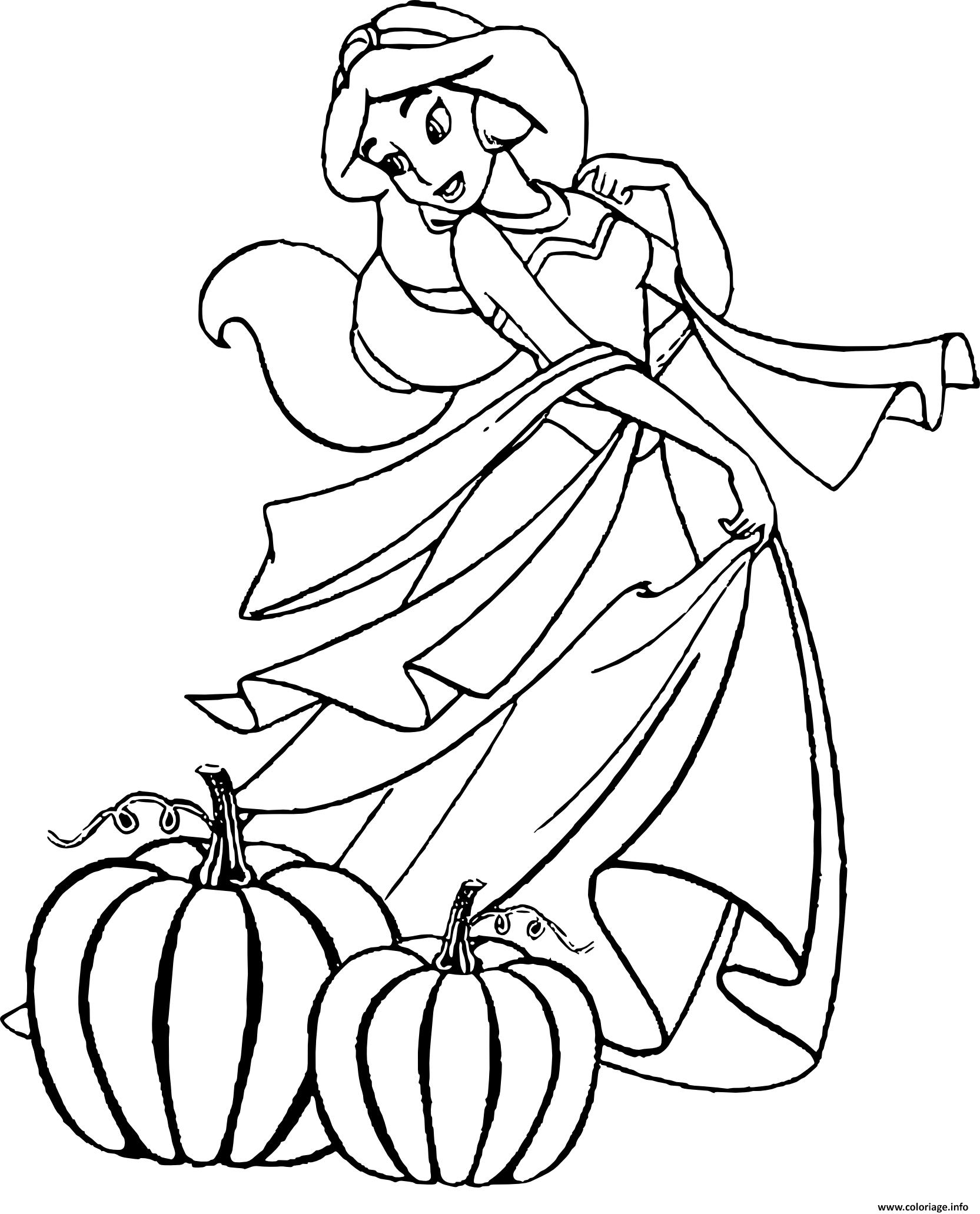 Coloriage jasmine princesse halloween dessin for Disney halloween coloring page